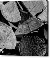 Burned Wood In The Pile Acrylic Print