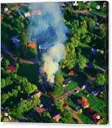 Burnin Down The House Aerial Single Family Home On Fire  Acrylic Print