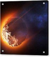 Burning Asteroid Entering The Atmoshere Acrylic Print