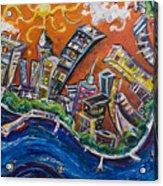Burning City Acrylic Print