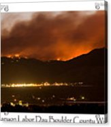 Burning Foothills Above Boulder Fourmile Wildfire Panorama Poster Acrylic Print