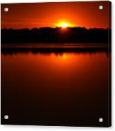 Burnt Orange Sunset On Water Acrylic Print