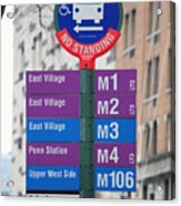 Bus Stop Sign In New York City Acrylic Print