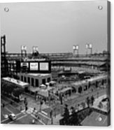 Busch Stadium From The East Garage Black And White Acrylic Print