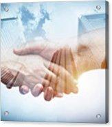 Business Handshake Over Modern Skyscrapers, Double Exposure. Acrylic Print