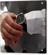 Businessman Looking At His Watch In Office Acrylic Print