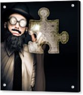 Businessman Puzzle Solving With Digital Solutions Acrylic Print