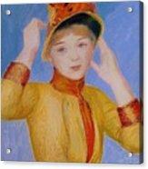 Bust Of A Woman Yellow Dress Acrylic Print