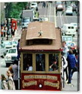 Busy Day On The California Street Cable Car Incline Acrylic Print