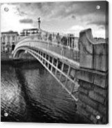 Busy Ha'penny Bridge 2 Bw Acrylic Print