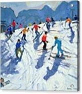 Busy Ski Slope Acrylic Print