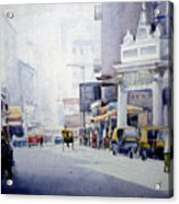 Busy Street In Kolkata Acrylic Print