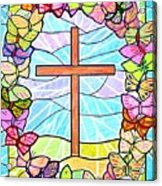 Butterflies And Cross Acrylic Print