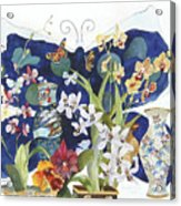 Butterflies And Orchids Acrylic Print