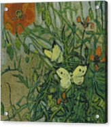 Butterflies And Poppies, 1890.  Acrylic Print