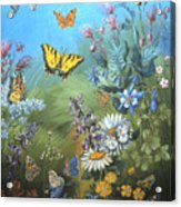 Butterflies And Wildflowers Of Wyoming Acrylic Print