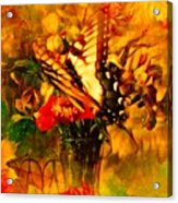 Butterfly Atop Flower Arrangement Acrylic Print