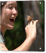 Butterfly On My Hand 2 Acrylic Print