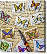 Butterfly Stamps And Old Document Acrylic Print by Garry Gay