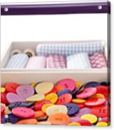 Buttons And Textile Fabrics In A Sewing Box Acrylic Print