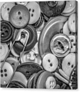 Buttons In Black And White Acrylic Print
