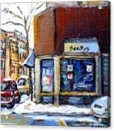 Buy Original Montreal Paintings Beauty's Winter Scenes For Sale Achetez Petits Formats Tableaux  Acrylic Print