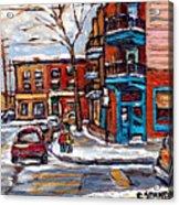Buy Original Wilensky Montreal Paintings For Sale Achetez Petits Formats Scenes De Rue Street Scenes Acrylic Print