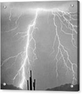 Bw Lightning From Heaven Acrylic Print