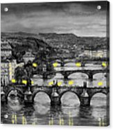 Bw Prague Bridges Acrylic Print