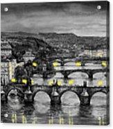 Bw Prague Bridges Acrylic Print by Yuriy  Shevchuk