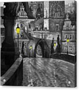 Bw Prague Charles Bridge 03 Acrylic Print