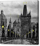 Bw Prague Charles Bridge 04 Acrylic Print