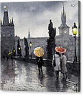 Bw Prague Charles Bridge 05 Acrylic Print by Yuriy  Shevchuk