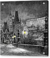 Bw Prague Charles Bridge 06 Acrylic Print