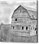 Bw Rustic Barn Lightning Strike Fine Art Photo Acrylic Print