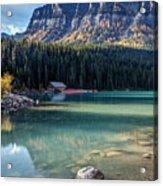 Cabin At Lake Louise Acrylic Print