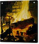 Cabin Fireplace Acrylic Print by Doug Strickland