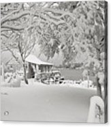 Cabin In Snow By The Sea Acrylic Print