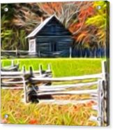 Cabin In The Woods Acrylic Print by Ella Char