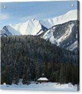 Cabin On Frozen Lake Acrylic Print
