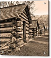 Cabins At Valley Forge In Sepia Acrylic Print