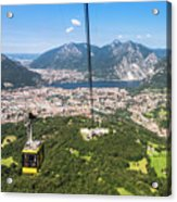 Cable Car Above The City Of Lecco Acrylic Print