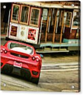 Cable Car Meets Ferrari Acrylic Print