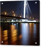 Cable-stayed Bridge Prins Clausbrug In Utrecht At Night 22 Acrylic Print