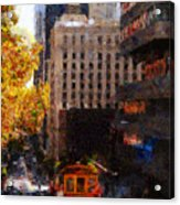 Cablecar On San Francisco California Street  . Painterly . 7d7176 Acrylic Print by Wingsdomain Art and Photography
