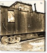 Caboose Black And White Acrylic Print