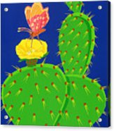 Cactus And Butterfly Acrylic Print