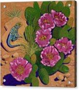 Cactus Flower Lizard Acrylic Print