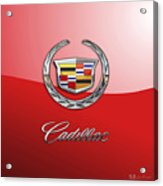 Cadillac - 3 D Badge on Red Acrylic Print