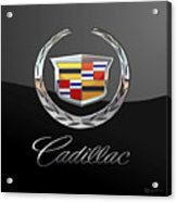 Cadillac - 3 D Badge On Black Acrylic Print